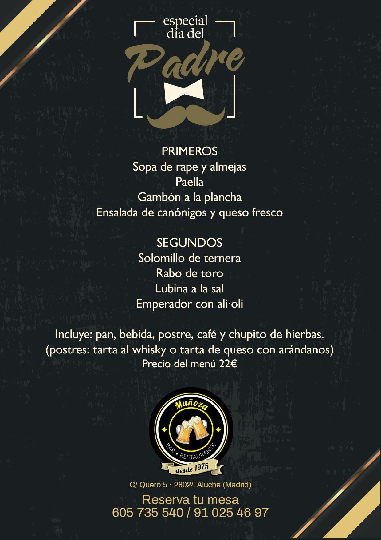 menú del día del padre en restaurante en Aluche Bar Muñoza